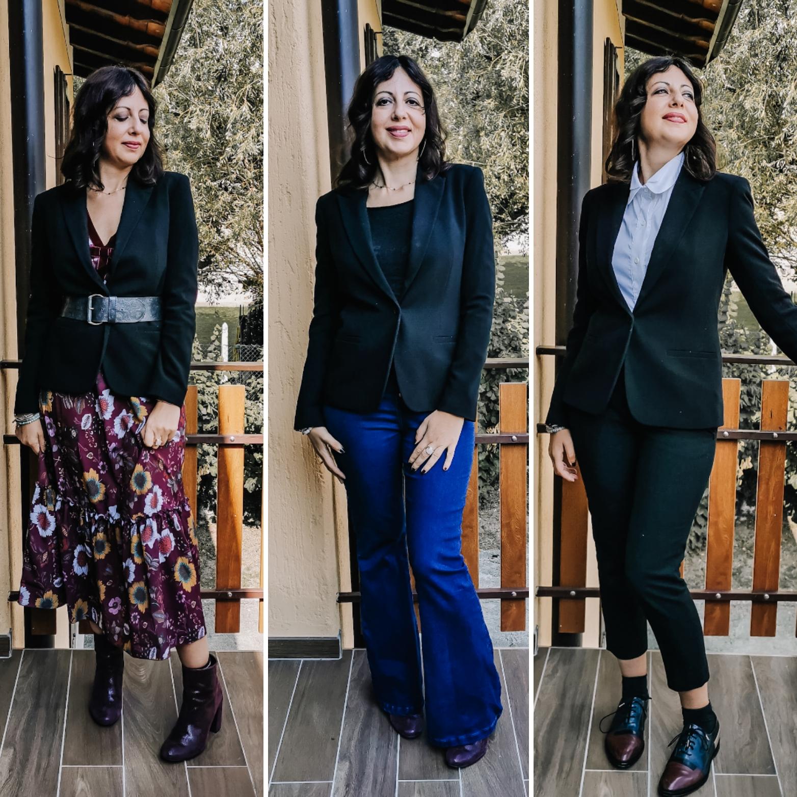 Tre modi per abbinare il blazer: con un maxi abito, con i jeans, con i pantaloni a sigaretta