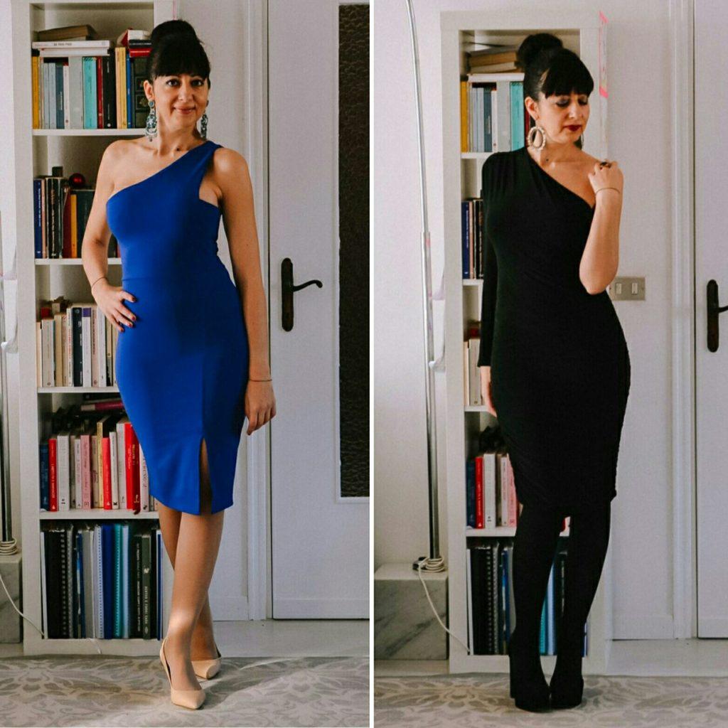 Isabella, The Fashion Cherry Diary, indossa due abiti monospalla, uno nero e uno blu
